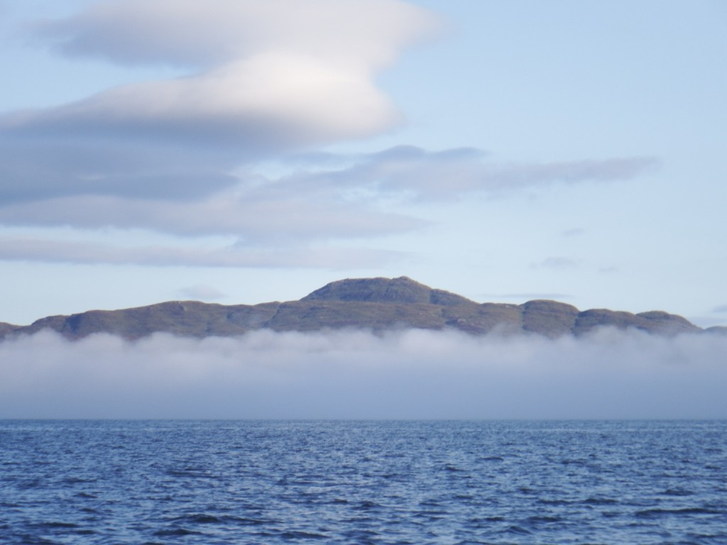Mist rolling down over the Sound of Mull