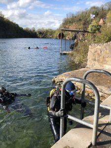 Students on a quarry dive title=